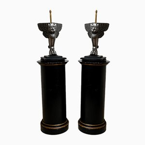 19th Century Italian Winged Lions Table Lamps, Set of 2