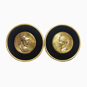 Antique Gilt Bronze Athena and Minerva Medallions, Set of 2