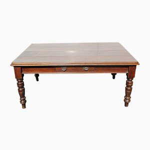 Antique Large Oak Table with Drawer on Turned Legs, 1900s