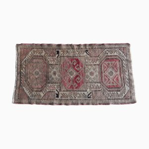Small Hand Knotted Distressed Oushak Yastik Rug, 1970s