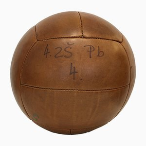 Vintage Leather 5kg Medicine Ball, 1930s