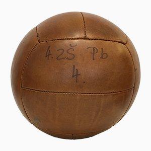 Vintage Leder 5kg Medizinball, 1930er