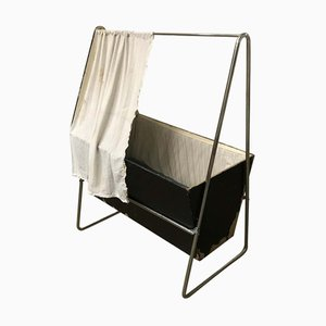 Vintage Black Wood and Chrome Cradle by Willem Hendrik Gispen for Gispen Culemborg, 1930s
