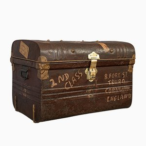 Antique Victorian English Steel Trunk