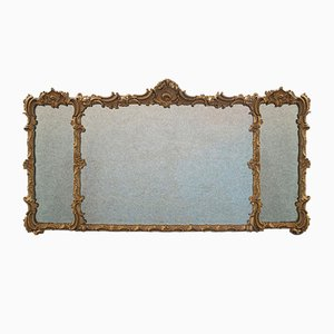 Antique Italian Triptych Gilt Gesso Overmantle Mirror, 1850s