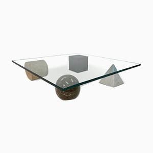 Italian Marble and Travertine Metafora Coffee Table by Massimo Vignelli for Casigliani, 1980s