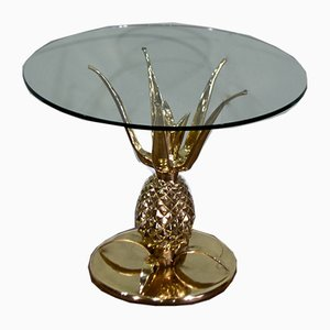 Sculptural Brass and Glass Pineapple Coffee Table, 1970s