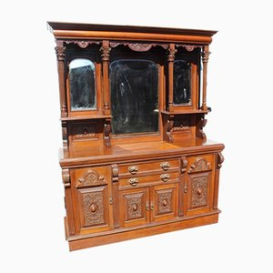 Antique Carved Oak Mirror Back Sideboard, 1900s