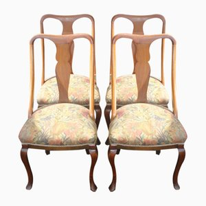 Mahogany Cab Leg Dining Chairs, 1920s, Set of 4