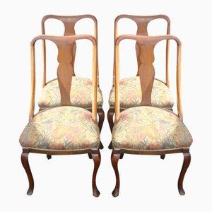 Mahogany Cab Leg Dining Chairs, 1920s, Set of 4