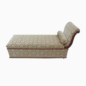 Antique Upholstered Walnut Chaise Lounge, 1900s