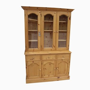 Country Pine 3-Door Dresser with Display Cabinet, 1980s