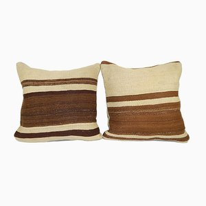 Organic Turkish Kilim Cushion Covers, Set of 2