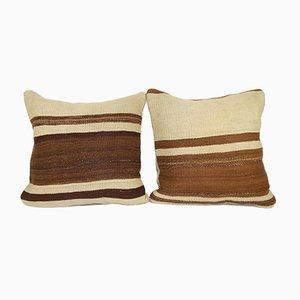 Organic Turkish Kilim Cushion Covers, Set of 2