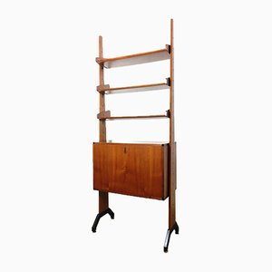 Mid-Century Danish Brass, Teak, and Wooden Wall Unit, 1960s