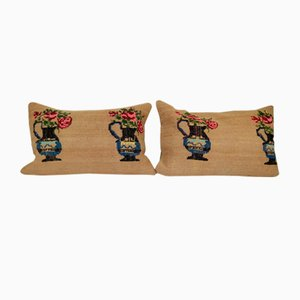 Aubusson Vase Design Kilim Cushion Covers, Set of 2
