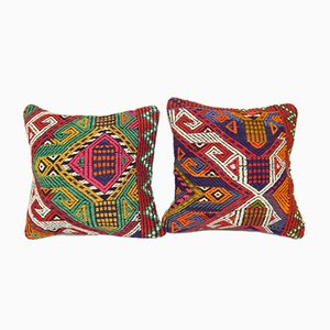Jajim Turkish Kilim Cushion Covers, Set of 2