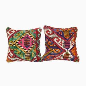 Jajim Turkish Kilim Cushion Covers, Set of 2