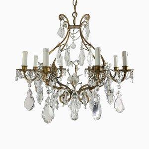 Antike Deckenlampe aus vergoldetem Eisen & Glas mit 8 Leuchten