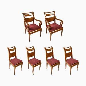 Antike Charles X Ahorn Esszimmerstühle und Armlehnstühle, 6er Set
