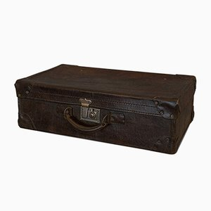 Antique English Leather Officers Suitcase, 1920s