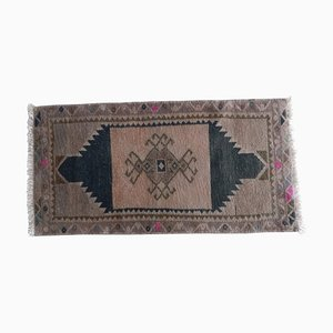 Small Turkish Distressed Low Pile Rug Hand Knotted Bath Mat or Yastik Rug, 1970s