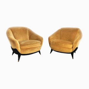 Mid-Century Italian Lounge Chairs by Guglielmo Veronesi for ISA, 1950s, Set of 2