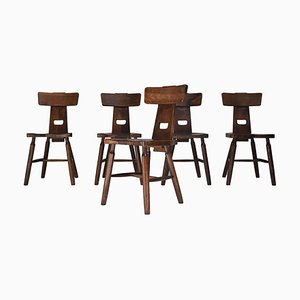 Brutalist Dark Oak Dining Chairs, 1970s, Set of 5