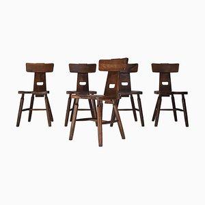 Brutalistische Dunkle Eichenholz Esszimmerstühle, 1970er, 5er Set
