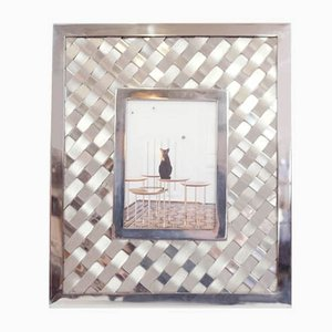 French Woven Glossy Metal Frame from Maison Jansen, 1970s