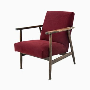 Mid-Century Maroon Model 300-190 Armchair by H. Lis for Radomskie Zakłady Mebli , 1960s