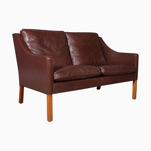 Black Leather Model 2208 2-Seat Sofa by Børge Mogensen for Fredericia