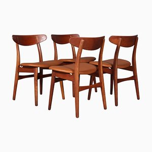 Dining Chairs Model CH-30 in Teak and Oak by Hans J. Wegner, 1970s, Set of 4