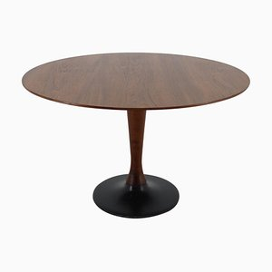 Teak Round Dining Table, Czechoslovakia, 1970s