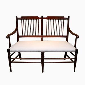 Antique Walnut Framed Settee, 1900s