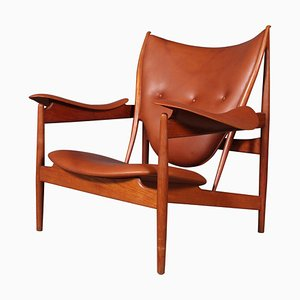Teak and Tan Leather Chieftain's Chair by Finn Juhl, 1940s