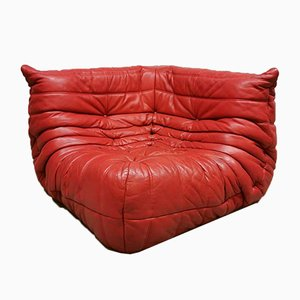Red Leather Togo Sofa by Michel Ducaroy for Ligne Roset, 1970s