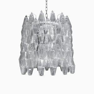 Drum-Shaped Clear Poliedri Blown Murano Glass Chandelier, 1960s