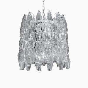 Gebogener Polydri Klar Murano Glas Kronleuchter in Trommelform, 1960er