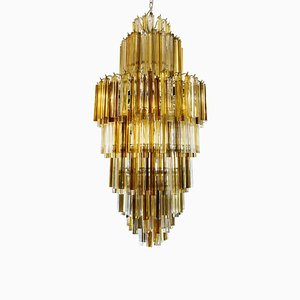 Amber Smoke Color Venini Skyscraper Chandelier, 1960s