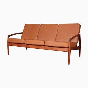 Teak Paper Knife 3-Sitzer Sofa von Kai Kristiansen, 1960er