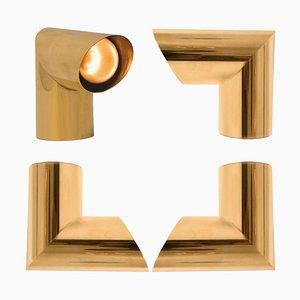 Geometrical Brass Sconce by Nanda Vigo for Arredoluce, Italy, 1970s