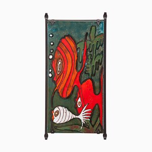 Large Heibi Ceramic Wall Plaque with Fish from West German Pottery, 1960s