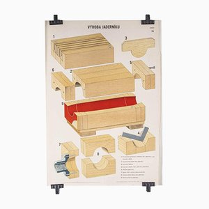 Czech Technical Industrial Drawing Foundry Mould Engineering Poster, 1970s