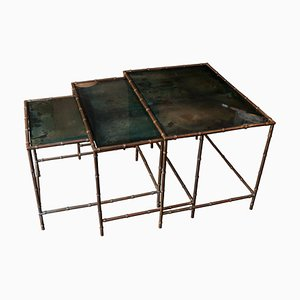 Italian Faux Bamboo Nesting Tables in Brass and Glass, 1940s