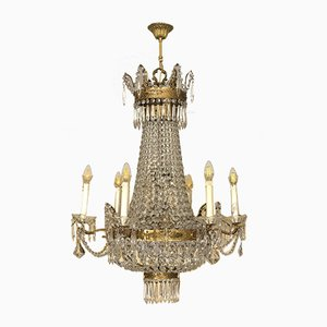 Antique Empire Italian Brass Balloon 12-Light Chandelier, 1940s