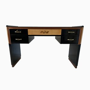 Art Deco Italian Black and Maple Desk from Permanente Mobili Cantù, 1940s
