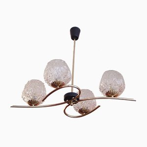 4-Light Chandelier in Gilded Brass and Molded Glass from Kaiser Idell / Kaiser Leuchten, Germany, 1950s