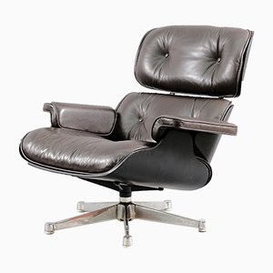 Mid-Century Brown Leather Lounge Chair by Charles & Ray Eames for Vitra