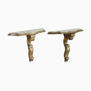Vintage Gilded Wood and Onyx Top Console Tables, Set of 2, 1930s